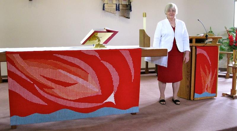 Barbara Berg and Red Paraments